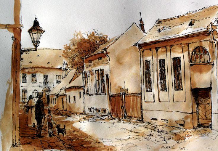 Szeged a néhai Ipar utca .. Szeged is the street late Ipar .. Tus,fapác , karton .. 29 x 42 cm