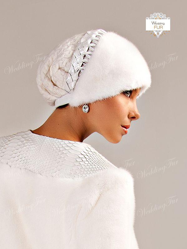 Меховая шапка из белой норки