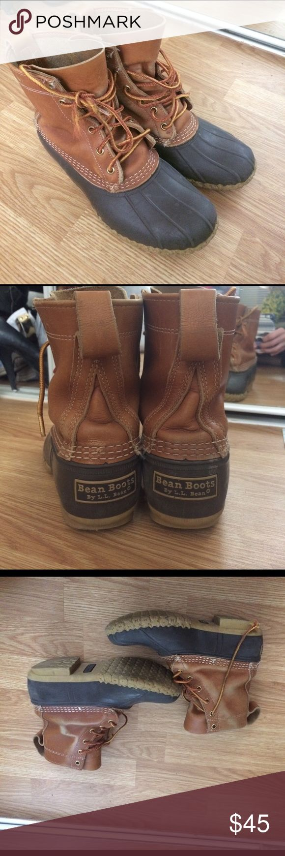 L.L. Bean Duck boots Authentic L.L. Bean women's duck boots. Run a bit big. But will fit if you're a size 7, best with thick socks. Great winter boots. A but if wear as shown in the photos but overall in excellent condition L.L. Bean Shoes Winter & Rain Boots