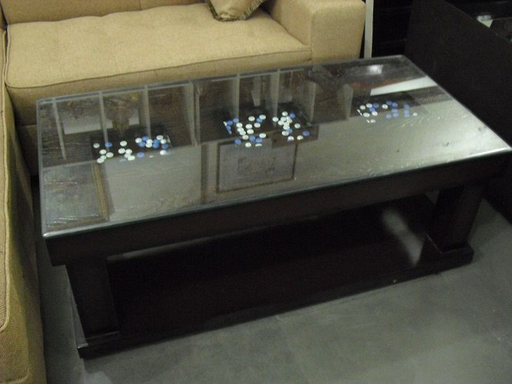 Wooden Center Table Glass Top