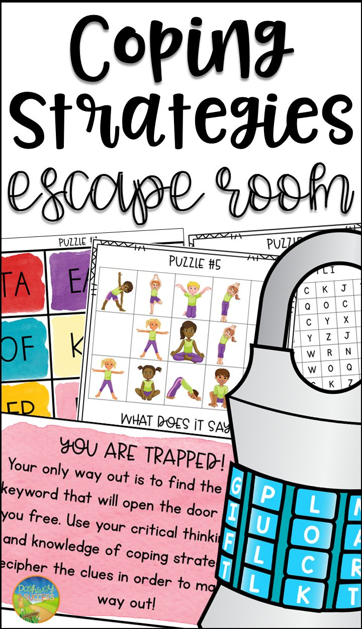Coping strategies escape room with seven challenges for kids and young adults all related to coping strategies! Use this fun activity for kids to feel motivated and excited to learn about coping strategies.