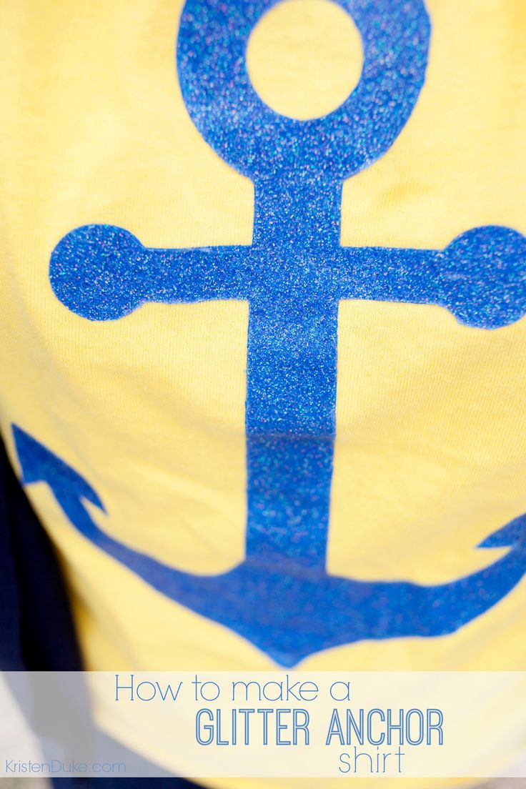 How to make a fun glitter stencil shirt - these anchor shirts were great for our family cruise KristenDuke.com