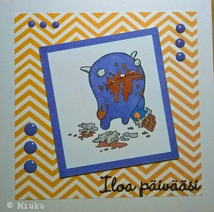 Paper Makeup Stamps. Chocolate monster. Joy to your day card. / Suklaamonsteri leimasin. Iloa päivääsi kortti.