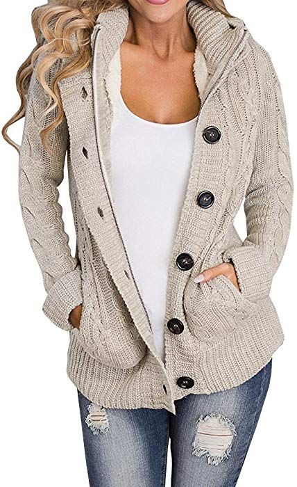 Hestenve Womens Chunky Hoodied Cardigan Sweater Button Down Jumper