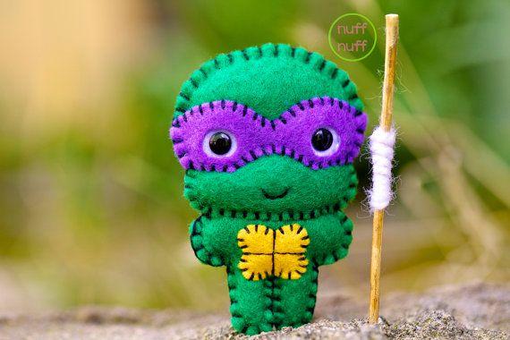 Felt Donatello  TMNT  Pocket Plush Toy by nuffnufftoys on Etsy, $13.50