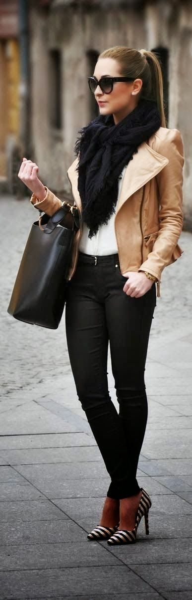 Black scarf, light brown leather jacket, black skinnies and high heels