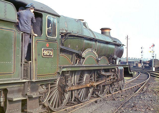 'Castle' class no.4079 'Pendennis Castle' moving off Swindon shed. 26 April 1964