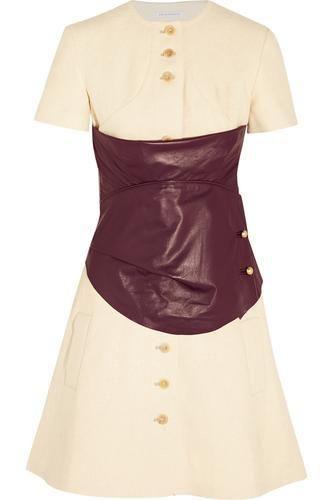 Leather-paneled hemp mini dress #dress #women #covetme #j.w.anderson