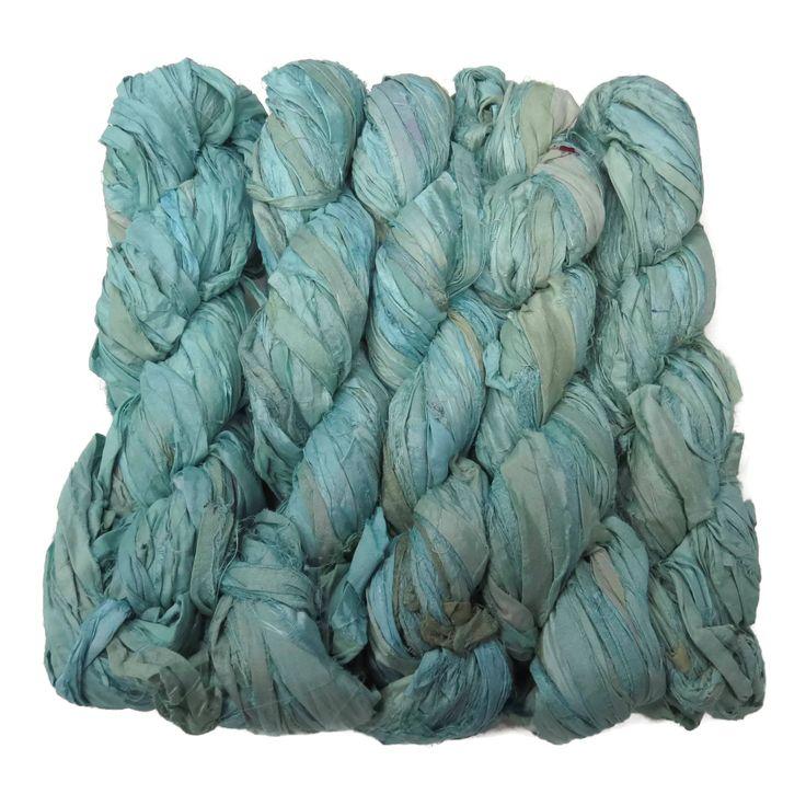 New! Premium Sari Silk Ribbon yarn , 100g , color: Ocean Spray