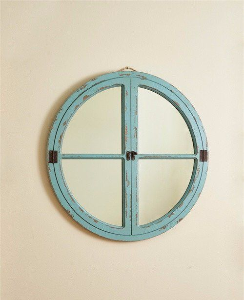 Nautical Wood Framed Round Wall Mirror