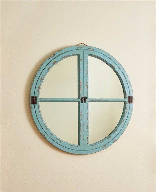 Nautical Wood Framed Round Wall Mirror
