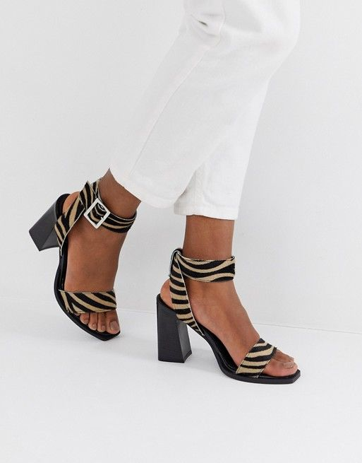 71d18a748a5 DESIGN Herbert leather block heeled sandals in tiger in 2019 | Shoes ...