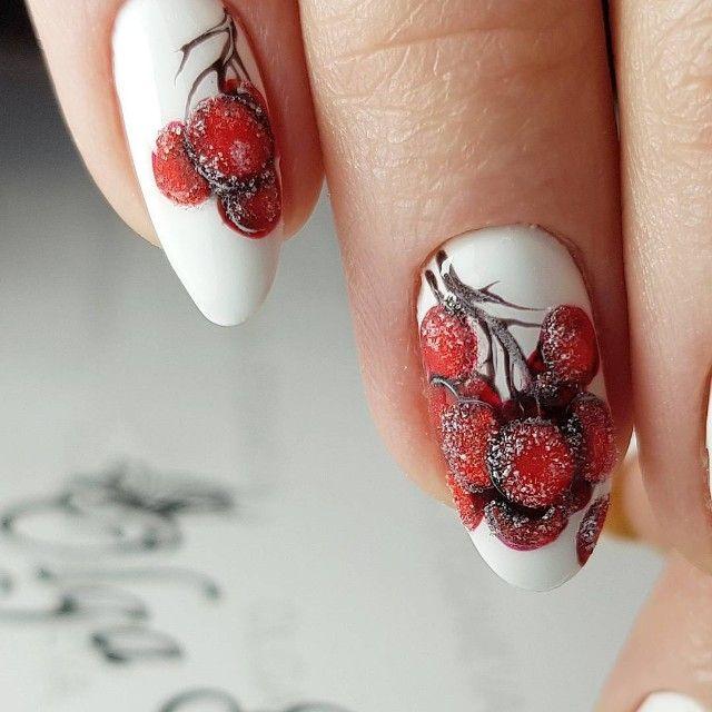 рябина в снегу рисунки на ногтях фото капоте его цифра