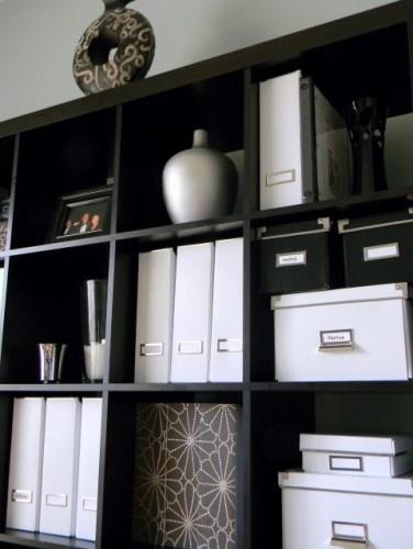 office organizationDecor, Storage Boxes, Offices Spaces, Black White, White Office, The Offices, Offices Ideas, Contemporary Home Offices, Offices Organic