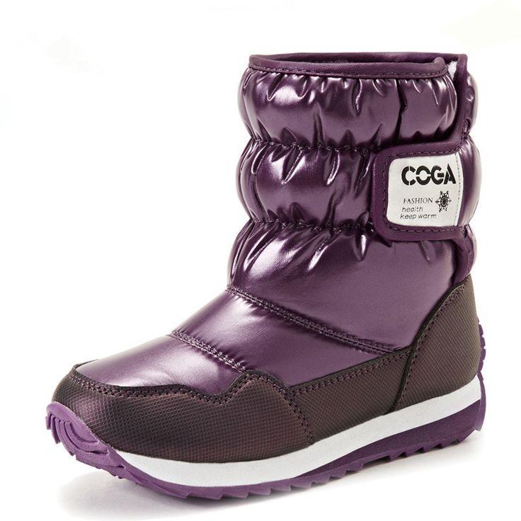 Older kids snow boots 2016 fur waterproof surface Gaotong warm kinderen winter schoenen meisjes sapato infantil boy shoes