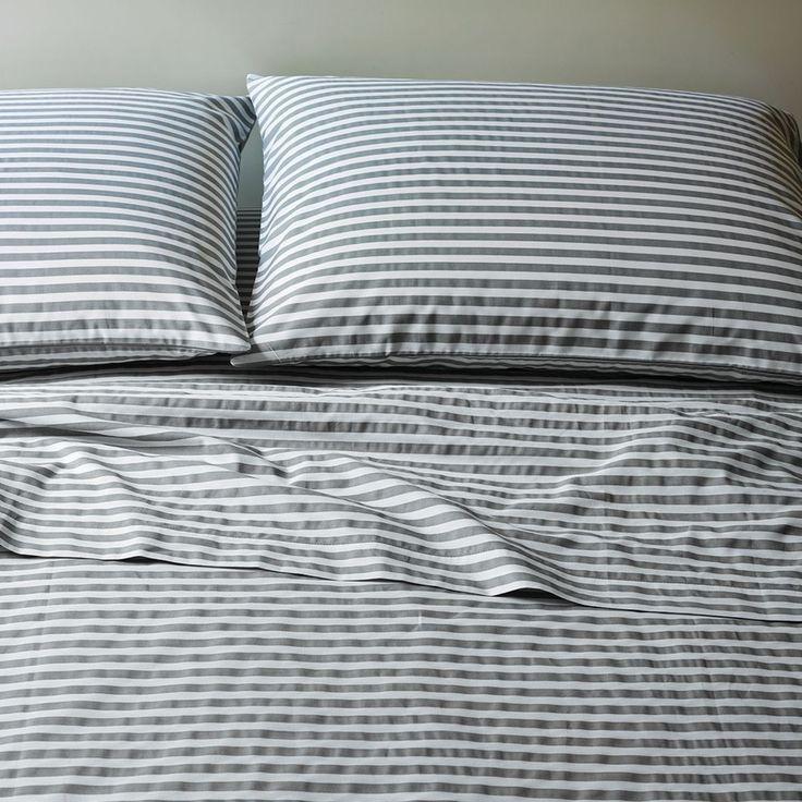 Stripe Sheet Set - White/Feather Grey