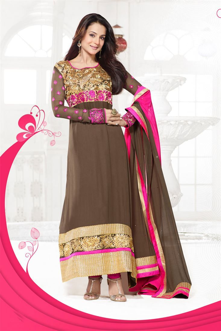 Amisha Patel Chocolate Georgette Embroidered Straight Ankle Length Suit @ 50% discount