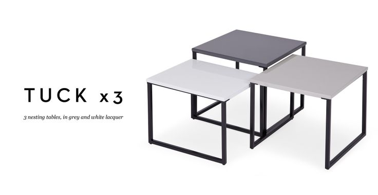 Three Tuck Nesting Tables In Grey And White Lacquer