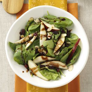 Spinach Pear Salad with Chocolate Vinaigrette Recipe from Taste of Home