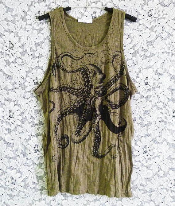 Octopus tank top Dark green tee squid sun top/ by WorkoutShirts