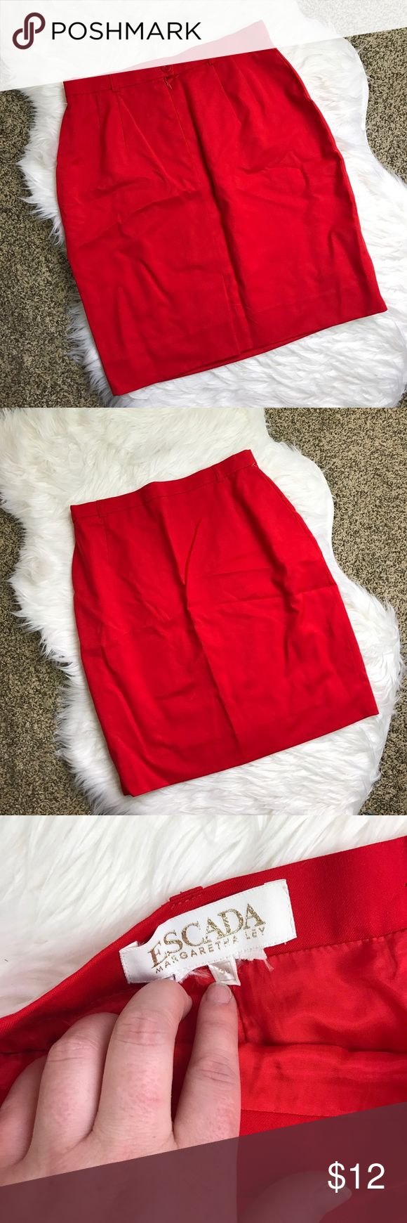 [Escada] Red Pencil Skirt Cute red pencil skirt with button and zip front. There is little to no stretch to this skirt. Size 38, gentle wear. Tag has some tearing/fraying. Escada Skirts Pencil