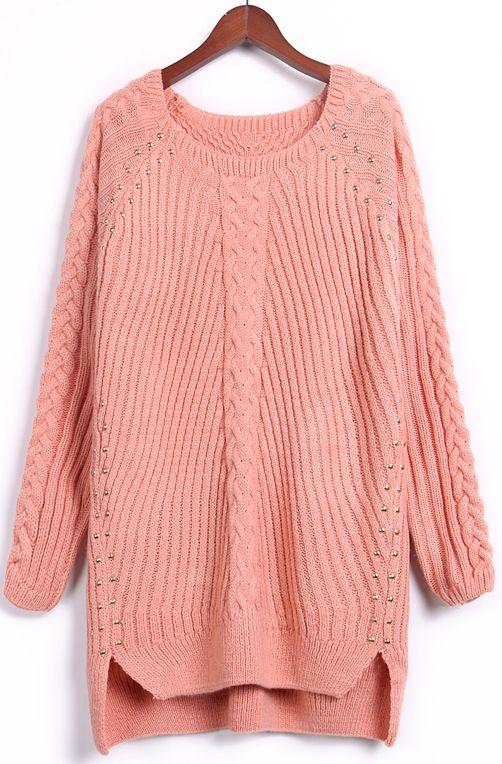 Pink Long Sleeve Rivet Long Sweater