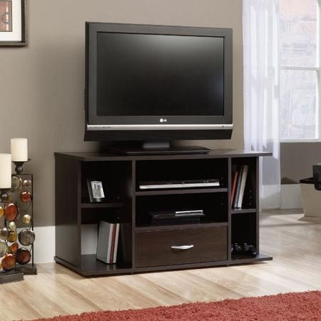 sauder beginnings cinnamon cherry panel tv stand for tvs up to 42 3