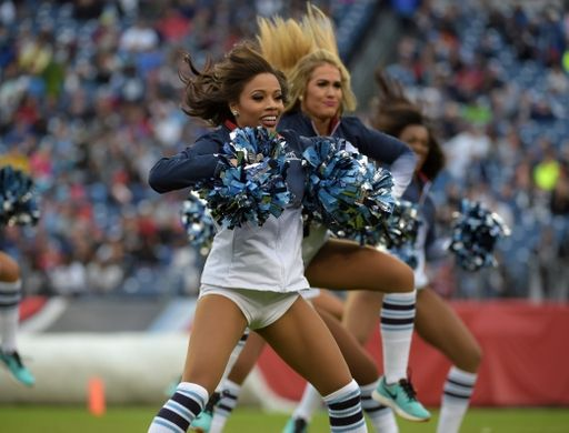Nov 29, 2015; Nashville, TN, USA; Tennessee Titans cheerleaders perform during an NFL football game against the Oakland Raiders at Nissan Stadium. Mandatory Credit: Kirby Lee-USA TODAY Sports