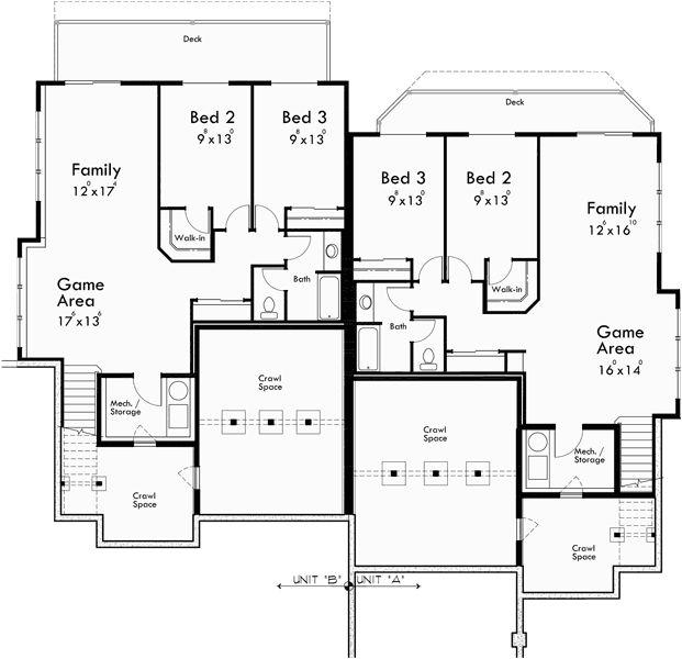 42 best multigenerational homes images on pinterest for Luxury duplex floor plans