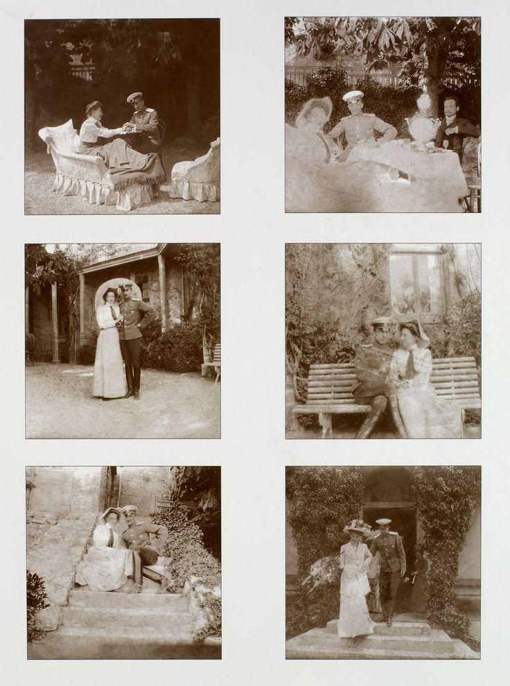 Série de seis fotografias de 1911 da Princesa Tatiana Constantinovna e Príncipe Constantino Bagration-Mukhransky reproduzida em uma folha de papel fotográfico. As fotografias mostram o casal em um jardim, sentado ou de pé juntos e, ocasionalmente, com os outros. Príncipe Constantino está vestindo uniforme militar.