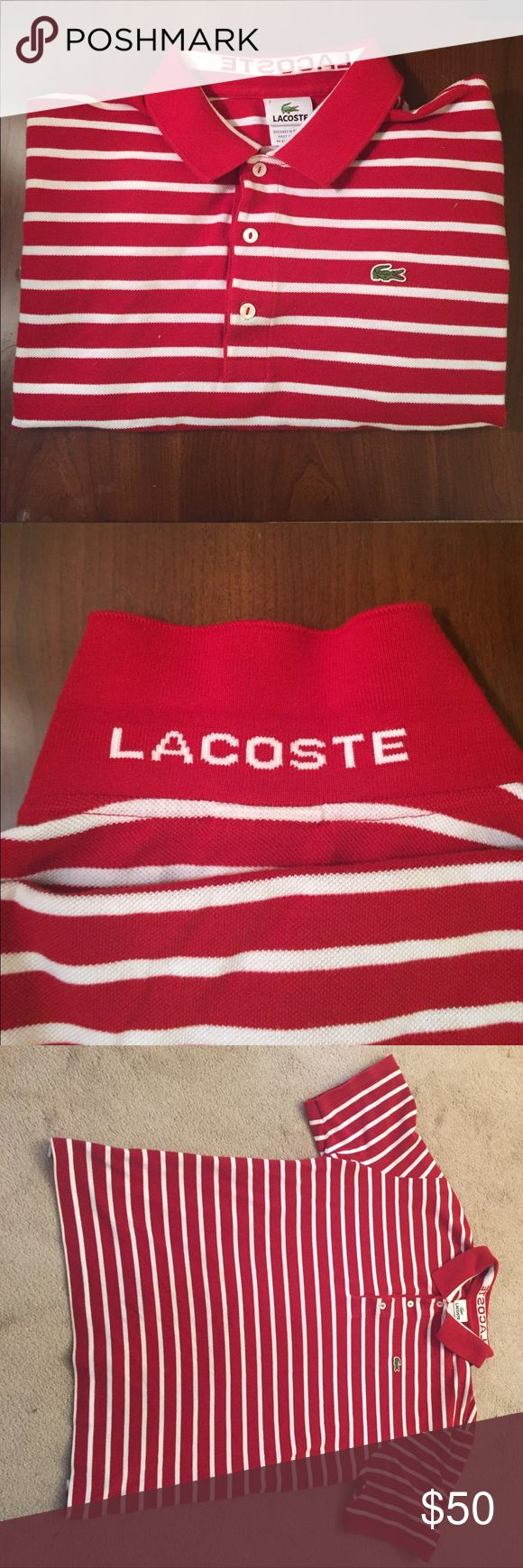 Men's Lacoste Striped Polo Shirt - L Men's Lacoste Striped Polo Shirt. Excellent condition. No rips, stains or tears. Lacoste logo on collar.  100% Cotton.  Regular Fit. Lacoste Shirts Polos