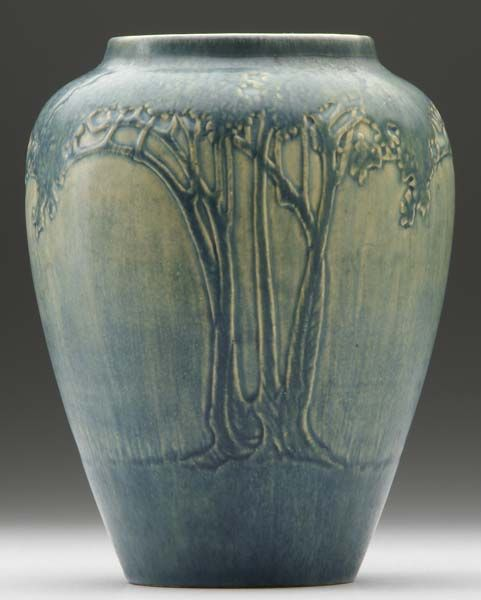 NEWCOMB COLLEGE Transitional vase carved by Cynthia Littlejohn with stylized trees, 1913