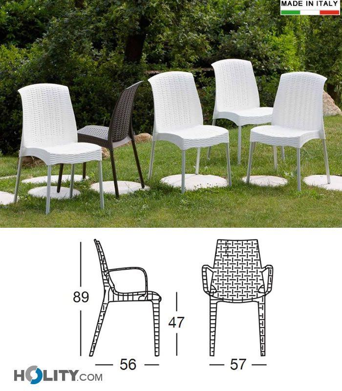 Sedia in polipropilene rinforzate e gambe in alluminio anodizzate h74124