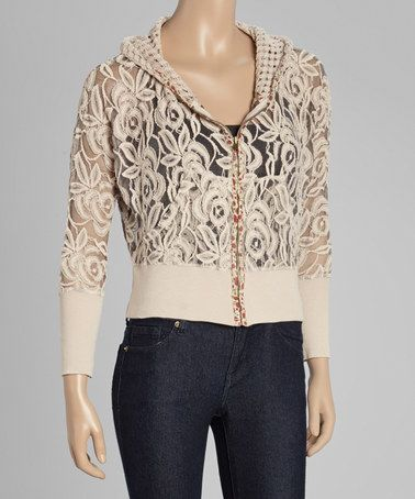 Loving this Ivory Floral Crochet Zip-Up Hoodie on #zulily! #zulilyfinds