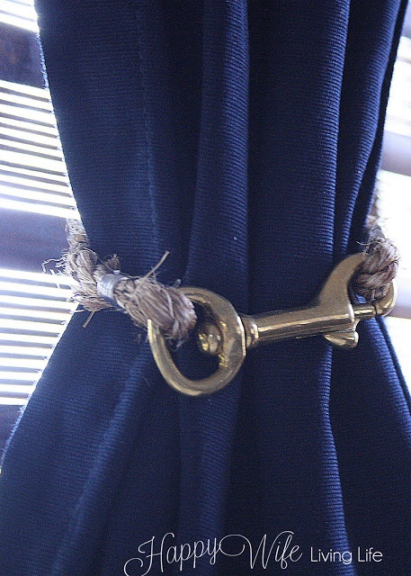 D.I.Y Curtain Ties, via Country Living, nautical, brass (we can use ribbon?)