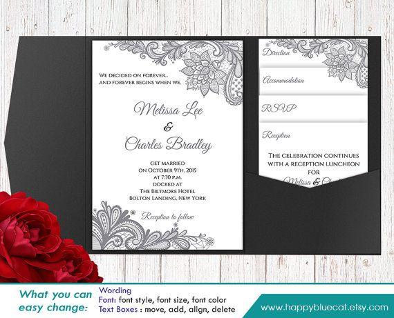 VERKAUF! Druckbare Pocket Hochzeit Einladung Vorlage SET - Instant Download - EDITIERBARE Text - Silber rustikal Sackleinen Spitzen - Microsoft ® Word H1