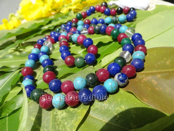 Multicolor Gemstone 8MM 108 Beads Rosary by beadsincredible, $24.95