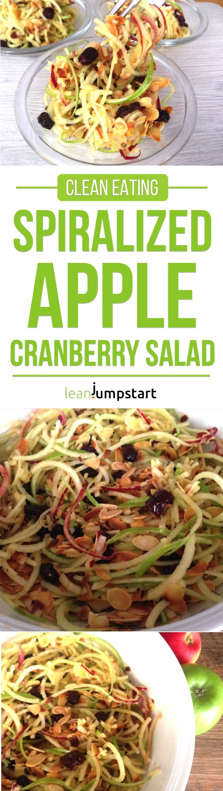 spiralized apple cranberry salad recipe - ready in 10 minutes  #thanksgiving #apples #leanjumpstart via @leanjumpstart