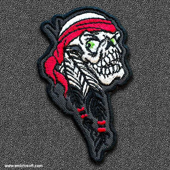 Biker patch Indian Skull IRON ON by EmbroSoft on Etsy