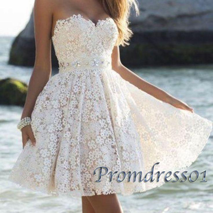 Creamy lace sweetheart mini prom dress for teens, homecoming dress 2016