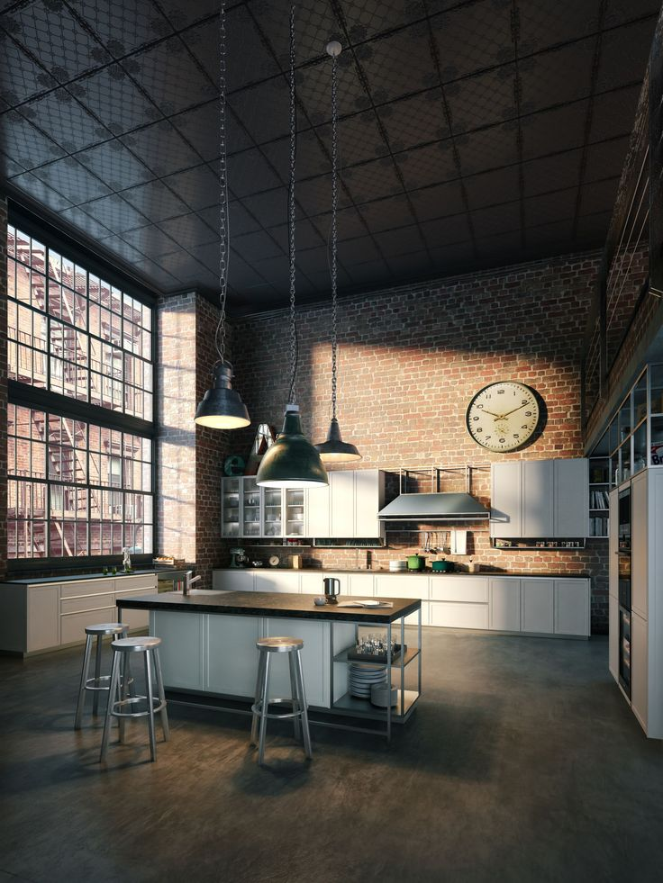 Check out this open plan warehouse-style kitchen. Exposed brick and concrete flooring with original steel framed windows are a strong basis for an industrial space… and how about that huge clock!