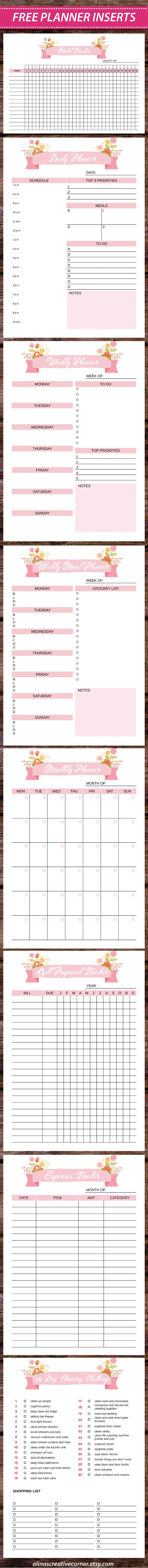 Free Planner Printables {newsletter subscription required}