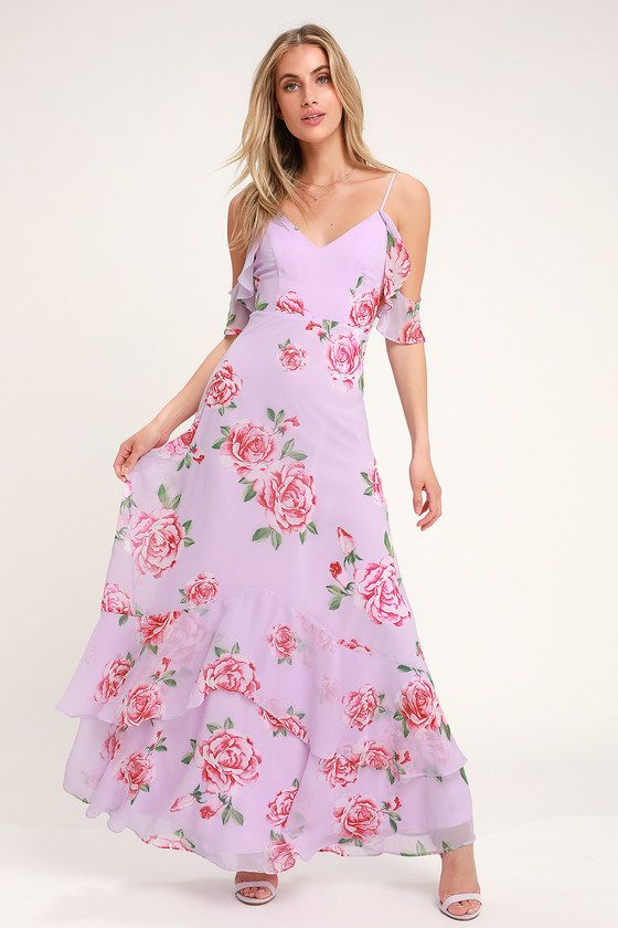 7c1de99774951 Take You There Lavender Floral Print Maxi Dress in 2019