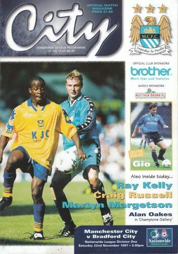 Man City 1 Bradford City 0 in Nov 1997 at Maine Road. The programme cover #Div2