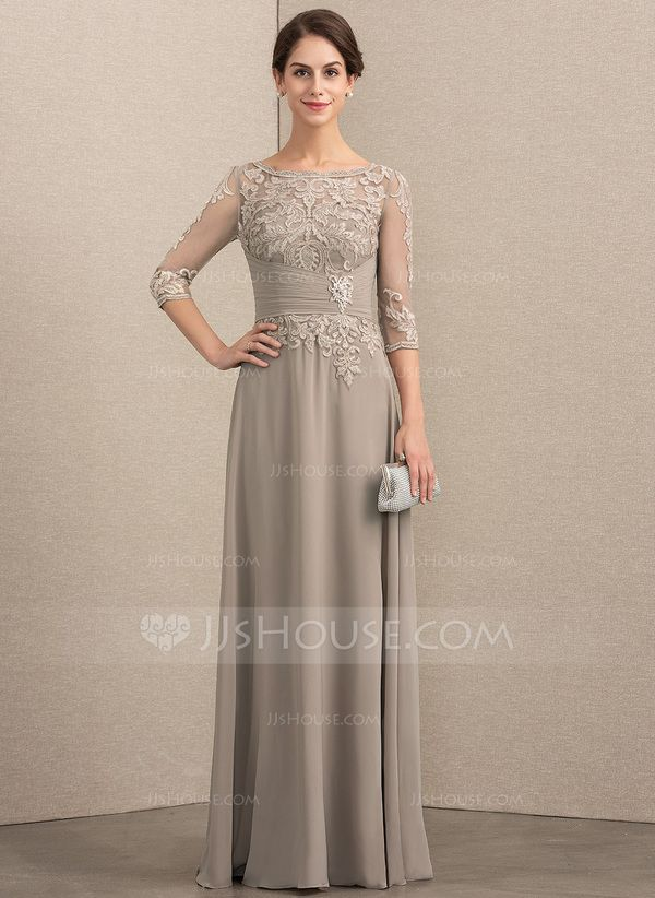 4833b39f4c9 A-Line Princess Scoop Neck Floor-Length Chiffon Lace Mother of the Bride  Dress With Crystal Brooch Sequins