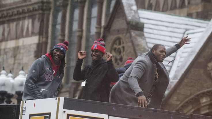 Patriots running backs LeGarrette Blount, Dion Lewis and tight end Martellus Bennett dance during the New England Patriots' Super Bowl LI victory parade.  -   Michael J. Ivins /Getty Images