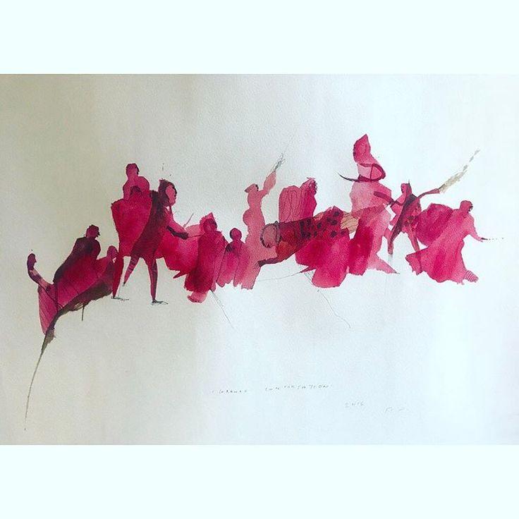 'GRANDE CONVERSATION- boundless DEMOCRACY, watercolour on Arches 59x70cm