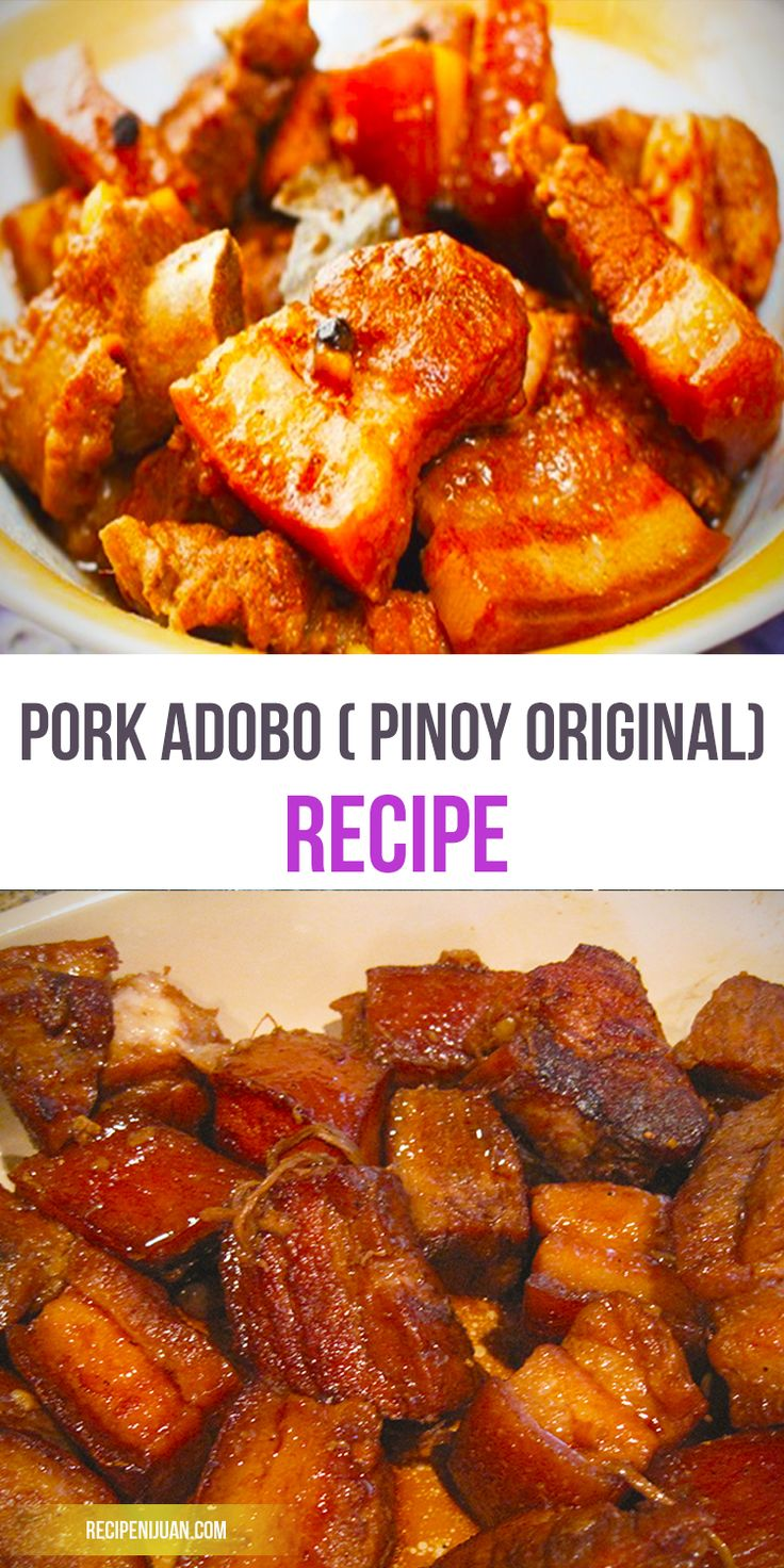 Made with pork belly, vinegar, soy sauce, pepper, onions, bay leaf and an assorted other optional ingredients, this pork adobo recipe is surely easy to make as one can make it a one-pot dish. The key to having the perfect adobo is in the marinade. Have the pork belly marinated with the vinegar, soy sauce, pepper, sliced onions, and bayleaf and refrigerate it for 18 – 24 hours.