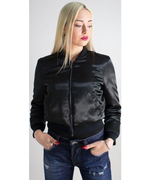 Giubbotto donna modello bomber in tessuto nero lucido dal taglio slim