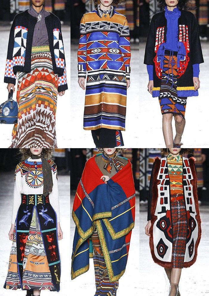 STELLA JEAN | Ndebele Pattern – African Masks – Primal Patterns – Tribal Borders – Hand Painted Geos – Multi-coloured Tassels – Bold Diamond Pattern – Tweed – Tie-Dye | MILAN | http://vogue.co.uk